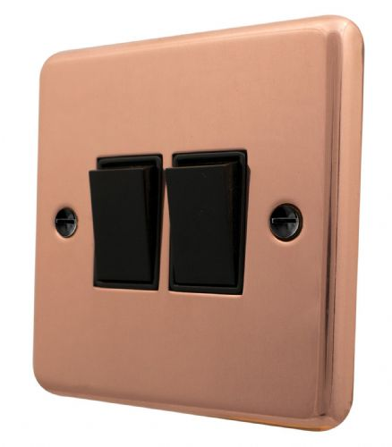 G&H CBC2B Standard Plate Bright Copper 2 Gang 1 or 2 Way Rocker Light Switch